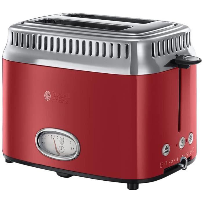 Bouilloire électrique Toaster Grille-Pain, 3 Fonctions, Température Ajustable, Réchauffe Viennoiserie, Design Vintage - Rouge
