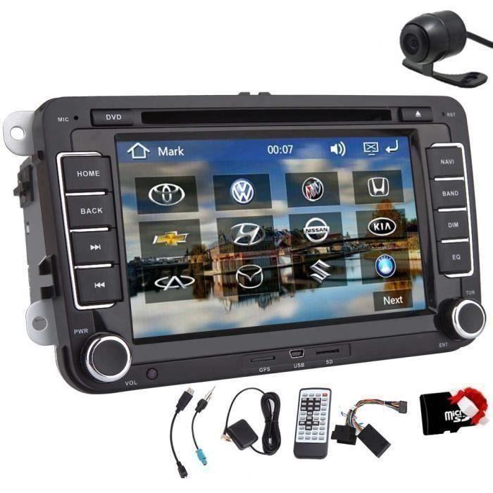 Letouch Autoradio Bluetooth stéréo 7 Pouces 2 Din HD Navigation GPS stéréo pour VW Support DVD-CD-Radio-Carte SD-USB Caméra de Recul