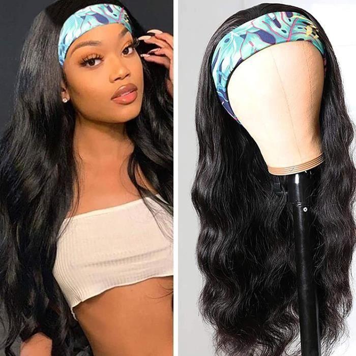 HAOHAG Perruque Postiche Extensions de Cheveux Queue de Cheval Extension Cheveu Ponytail Ondulée Naturel Noir 24 Pouces Headband,40