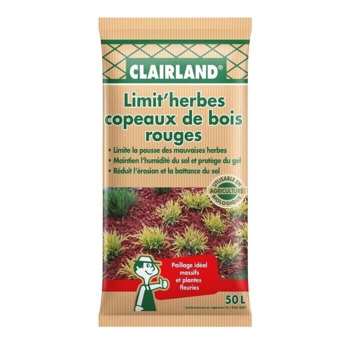 CLAIRLAND Copeaux de bois rouge Limit'herbes - 50 L