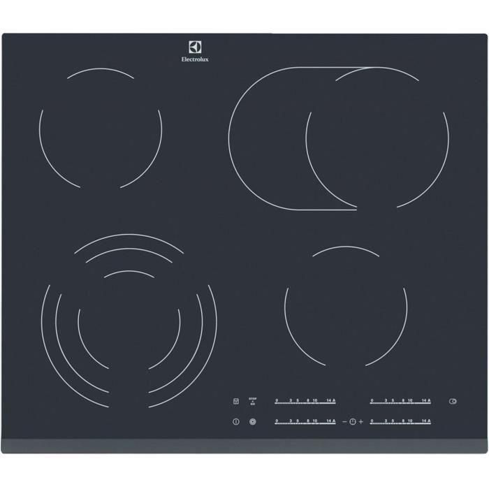 ELECTROLUX EHF6547FOK Plaque de cuisson vitrocéramique - 4 zones - 7100W - L59 x P52cm - Revêtement verre - Noir