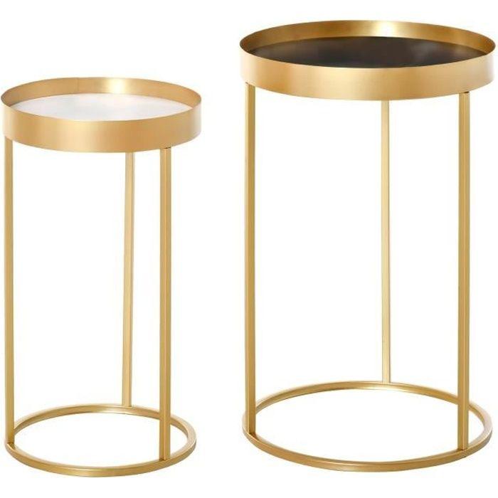 Tables gigognes lot de 2 tables basses rondes design style art déco Ø 39 et Ø 30 cm métal doré MDF blanc et noir 39x39x63cm Doré
