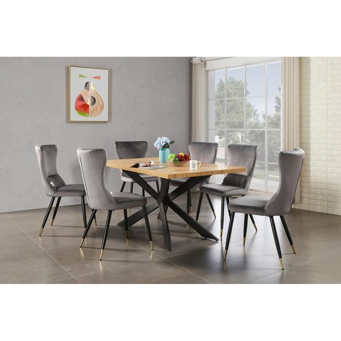 Ensemble Table à Manger Chêne 4 à 6 personnes + 6 Chaises en Velours Gris - Style Contemporain