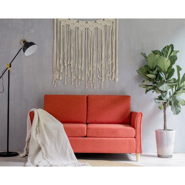 Laxllent Canapé 2 Places,123x25.5x70cm,Orange,Surface en Tissu Imitation Lin, Pieds en Bois,Montage Facile,pour Appartement,Chambre