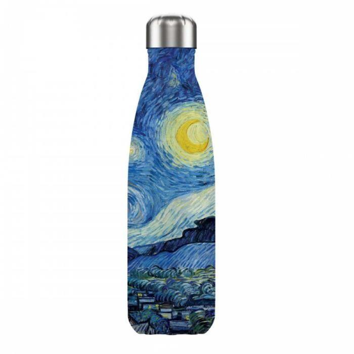 Bouteille isotherme design 'Vincent Van Gogh' (nuit étoilée) - 25x5 cm (500 m) [A0866]