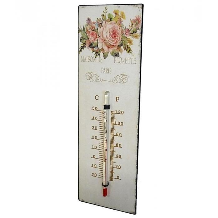 Thermomètre Mural Décoratif en Celsius et Farenheit ou à Poser Motif 'Floral à l'Ancienne' en Fer et Papier Vernis 0,5x8x25cm