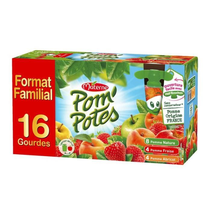 Materne Pom'potes Gourdes pomme nature, pomme fraise, pomme abricot 16x90g