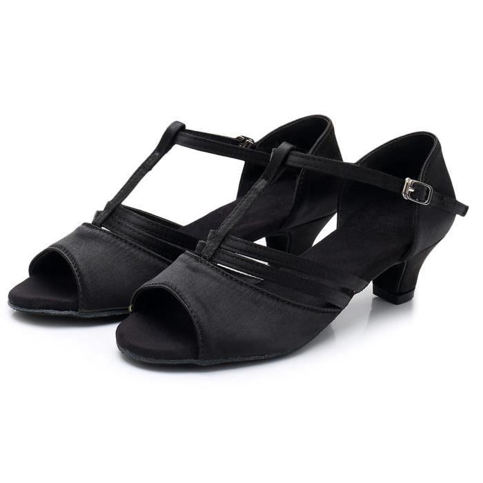 Femmes Mode danse Rumba Waltz Prom Salle de bal Salsa chaussures de danse latine Sandales Noir PCD90330091BK Noir