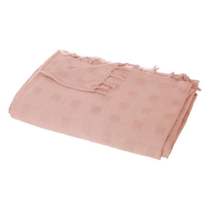Jeté de lit carré en coton coloris Rose - 230 X 250 cm