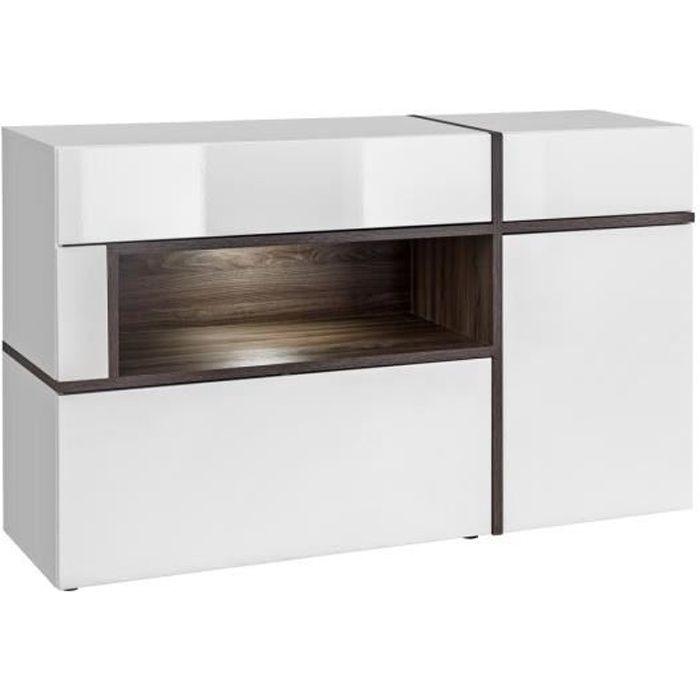Buffet, bahut modèle CRISS + LED. Enfilade design et moderne pour votre salon ou salle à manger. 45 Blanc