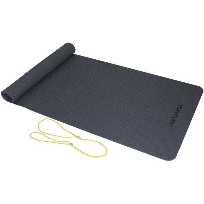 TUNTURI Tapis de Yoga en TPE 3mm Gris Anthracite, Ficelle Jaune