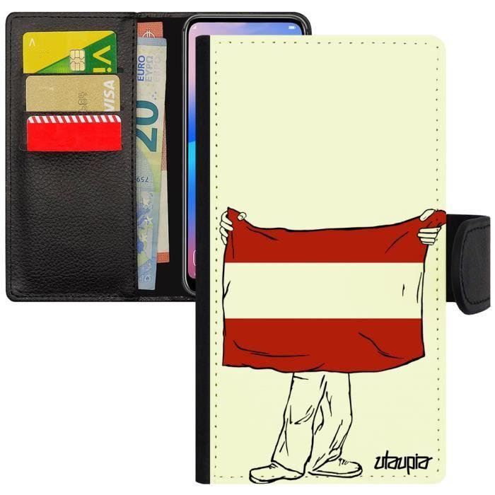 Coque Apple iPhone 7 simili cuir rabat porte cartes drapeau autriche autrichien foot coupe d'europe design jo coupe du monde 256 Go