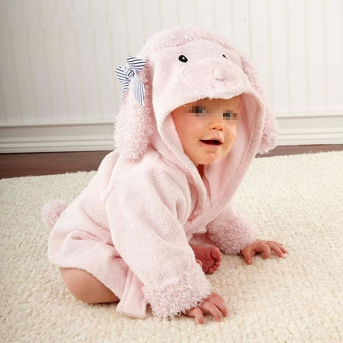 Peignoir Serviette Sortie de bain drap Couverture pour bébé Mignon Animal lapin rose
