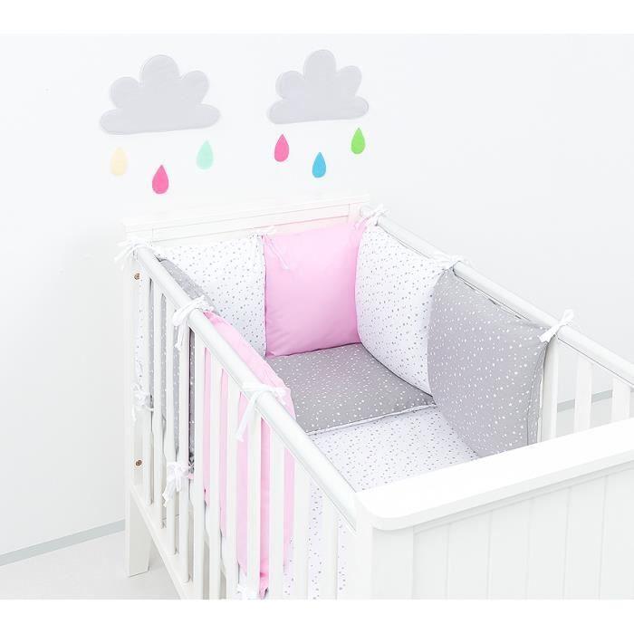 Solenzo-Parure de lit bébé rose gris 60x120 cm 14 pièces-Tour de lit  modulable