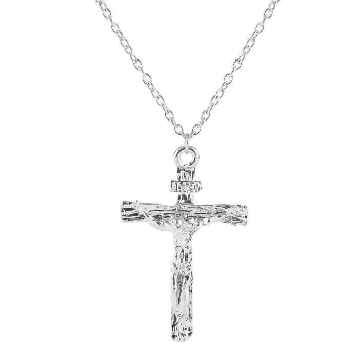 SAUTOIR ET COLLIER Collier Femme Croix  Pendentif Chaîne à Maillons-