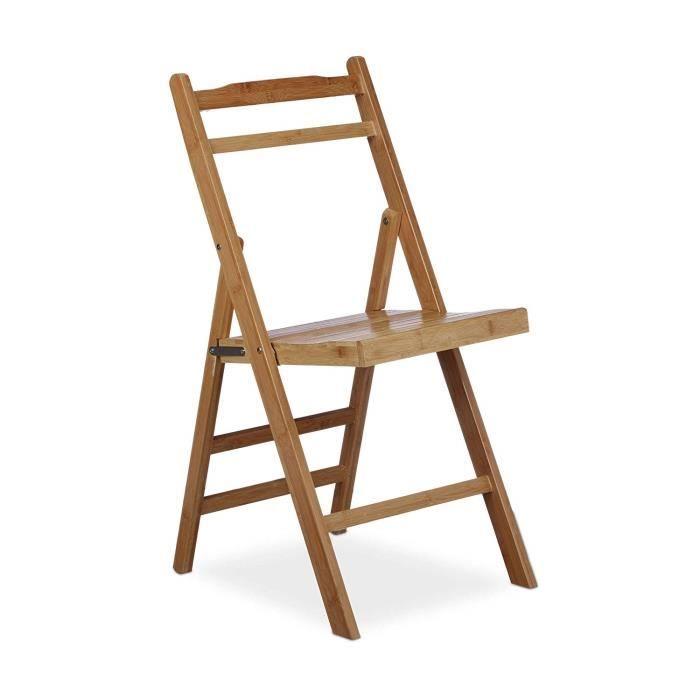 SALON DE JARDIN  Relaxdays Chaise pliante en bambou chaise de jardi