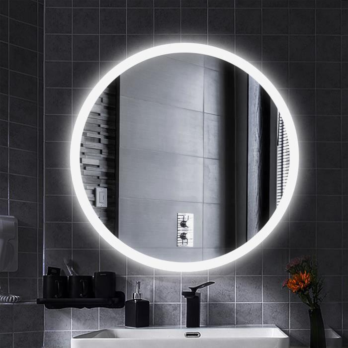 D/&S Paris Miroir Salle de Bain avec /Éclairage LED avec Fonction Anti-Bu/ée Miroir Rond Diam/ètre 60cm Lumi/ère Blanc 6500K