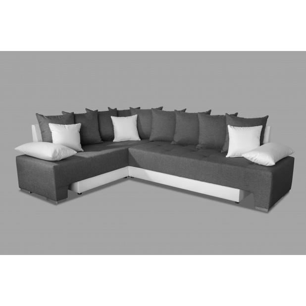 canap duo plus angle gris anthracite blanc achat vente canap sofa divan cdiscount. Black Bedroom Furniture Sets. Home Design Ideas