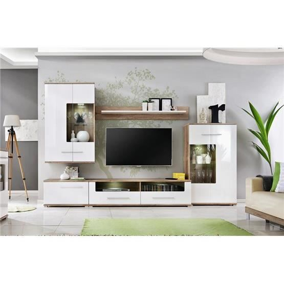 meuble tv design mural laas bois clair et blanc achat vente meuble tv meuble tv design mural. Black Bedroom Furniture Sets. Home Design Ideas