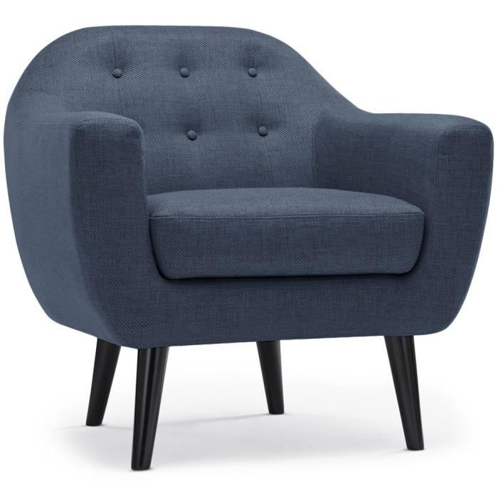 fauteuil scandinave fidelio tissu bleu achat vente. Black Bedroom Furniture Sets. Home Design Ideas