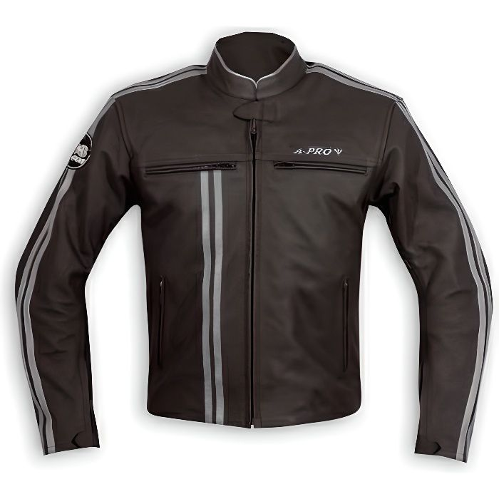 Blouson Cuir Homme Motard Moto Protections CE Veste Doublure Thermique argent L