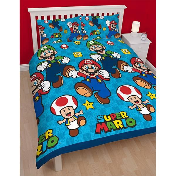 parure de lit double super mario 200x200 cm achat. Black Bedroom Furniture Sets. Home Design Ideas