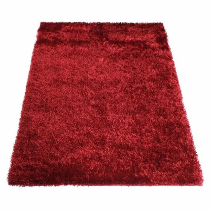 tapis shaggy rouge 160 x 230 cm achat vente tapis cadeaux de no l cdiscount. Black Bedroom Furniture Sets. Home Design Ideas