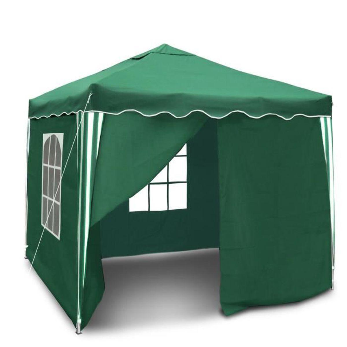 Superbe Un Barnum Bristol III 127143 vert et pliable 3 x 3 m, toit  impermeable, avec parois et sac de transport