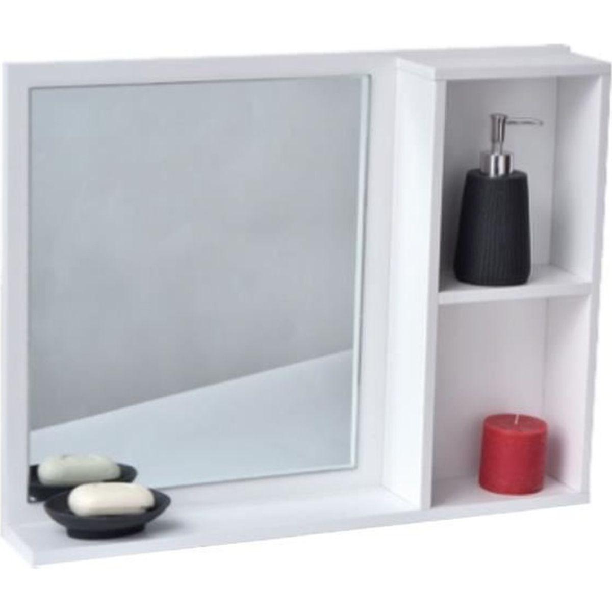 Miroir De Salle De Bain Avec Tablette Et 2 Niches
