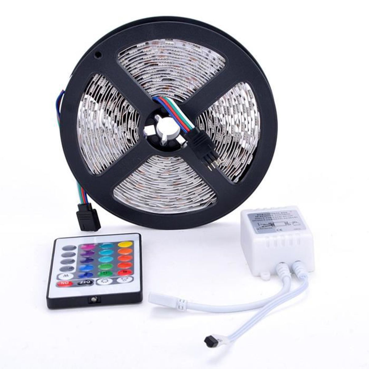 5m smd rgb 5050 strip lumi re 300 led et 24 cl s alimentation 12v distance 5a ir achat. Black Bedroom Furniture Sets. Home Design Ideas
