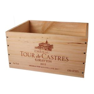 COFFRET CADEAU VIN La Caisse Bois 6x75cl estampillé Tour de Castres -