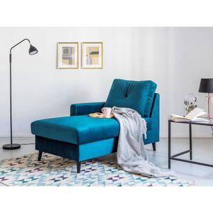 MÉRIDIENNE Méridienne avec coffre SCANDI velours Bleu Canard