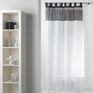 VOILAGE Voilage passants 140 x 240 cm BICOLORE blanc noir