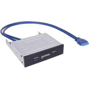 HUB Hub à port USB 3.0 en façade Manhattan 162661 2 po