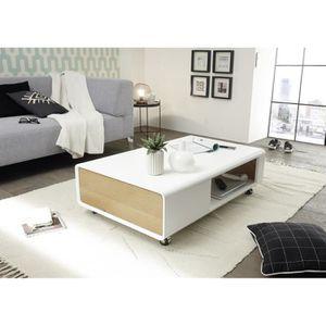 TABLE BASSE Table basse en laqué blanc mat - L110 x H32 x P70