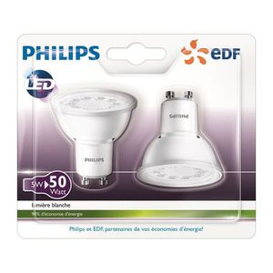 AMPOULE - LED PHILIPS EDF Lot de 2 ampoules spots LED GU10 5W éq