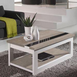 TABLE BASSE Table basse relevable Chêne clair/Blanc - UPTI - L