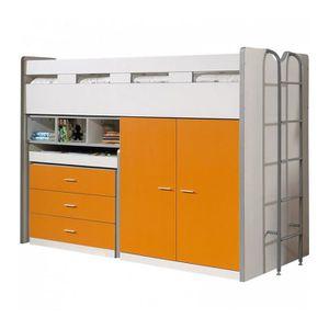 LIT MEZZANINE Vipack Lit mezzanine Bonny 90 x 200 cm Orange