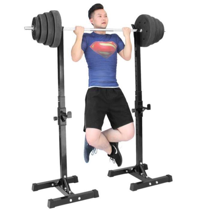 LARAS Repose Haltère Réglable Charge max.200 kg, Repose Barre Musculation Longs à Disques Squat Rack Noir&Blanc