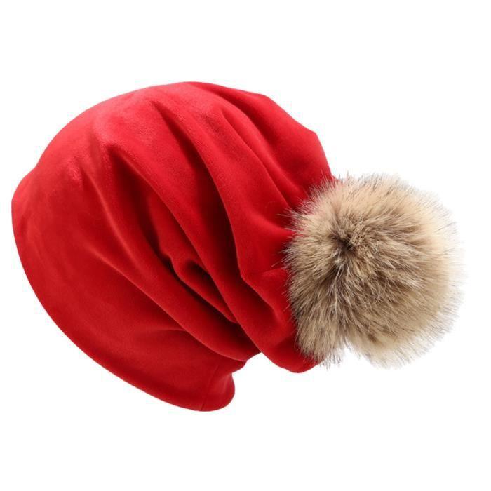 Femmes hiver en duvet d'oie casquette de couleur unie casquette décontractée cache-oreilles LTA90812081RD_Leshaishu