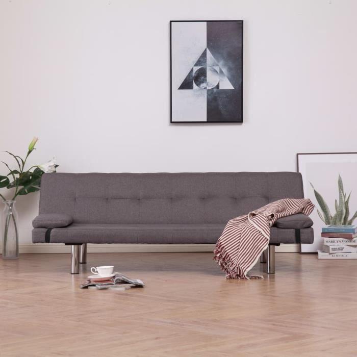 Canapé-lit design contemporain avec deux oreillers Taupe Polyester