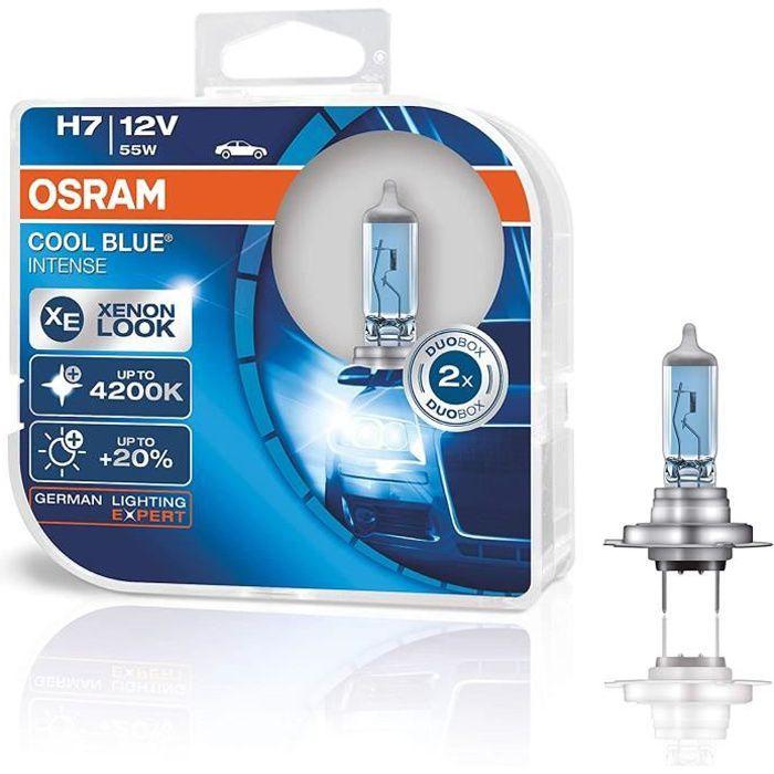 OSRAM COOL BLUE INTENSE H7, Lampe de phare halogène, 64210CBI-HCB, 12 V véhicule de tourisme, boîte duo (2 pièce)