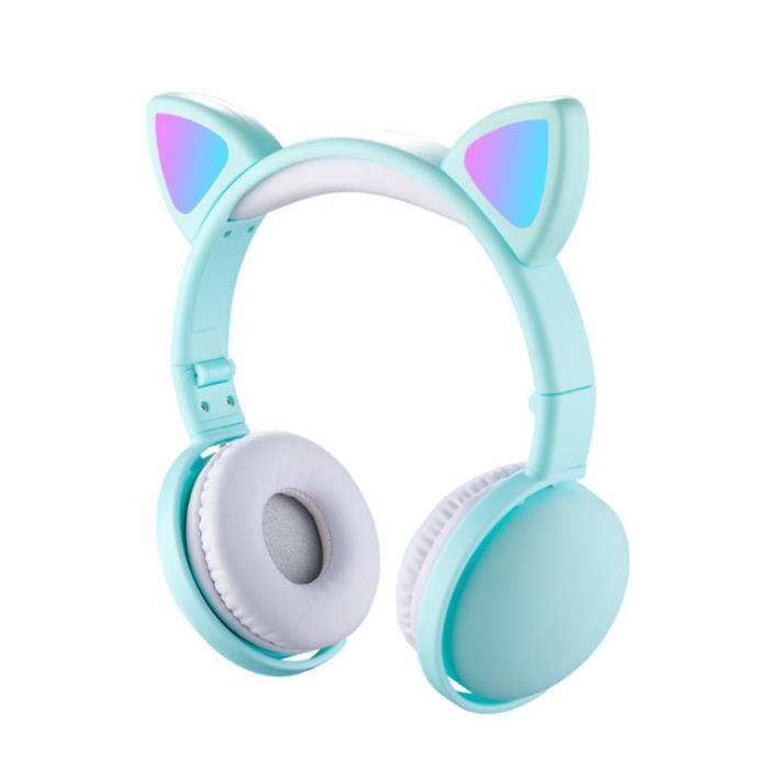 LED Casque Audio Enfant Fille Bluetooth Casque sans Fil Écouteurs Oreille Chat Bandeau Réglable pour IOS, Android, 15m, Tiffany
