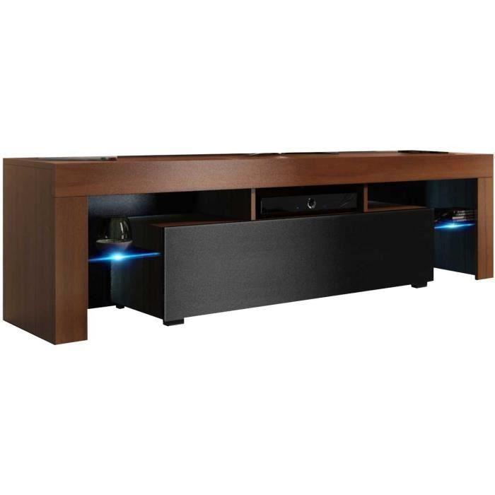Meuble tv 160 cm aspect noyer / noir mat + led rgb