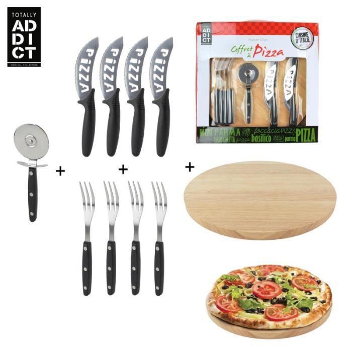 Coffret à pizza, 10 ustensiles, roulette à pizza, planche à découper et couverts Noir