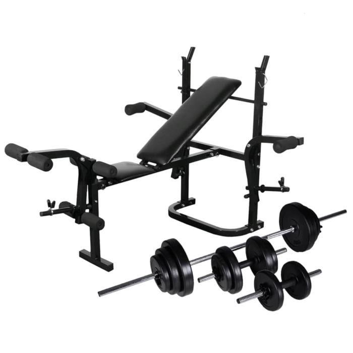 Banc de musculation appareil à abdo Banc d'entraînement abdominaux et dorsaux - avec support de poids jeu d'haltères 30,5kg #E#2775