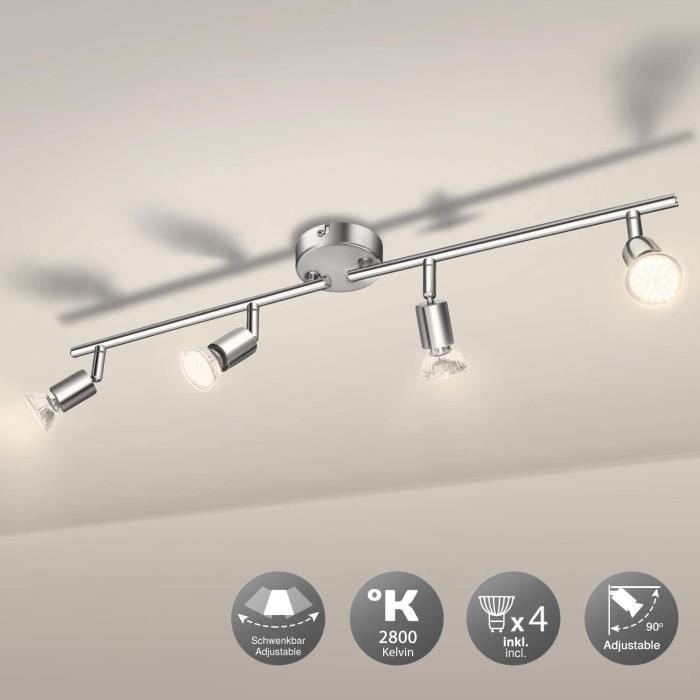 Luminaire Plafonnier 4 Spots LED Orientables, Wowatt 6W Spot de Plafonnier 600Lm GU10 Applique Lampe 2800K Blanc Chaud pour Sal19
