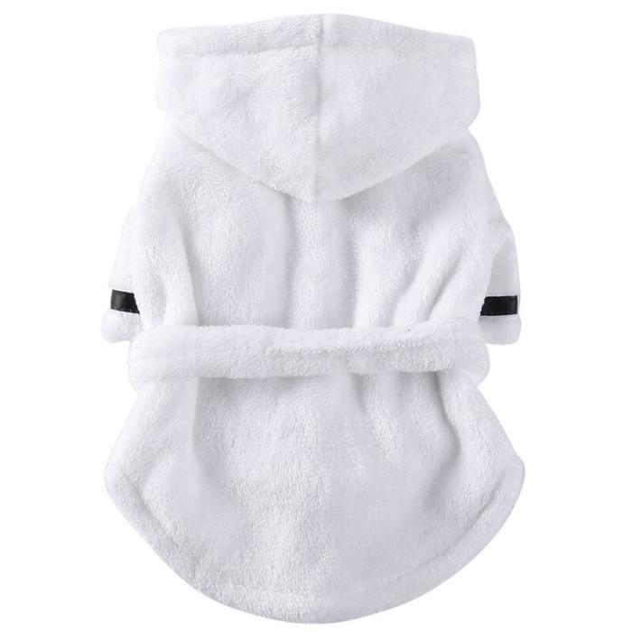 Serviette peignoir,Chien Bathrob animal de compagnie chien chat pyjamas vêtements de couchage intérieur doux pour - Type WHITE-S