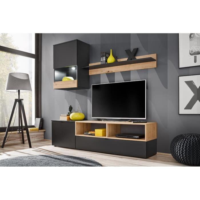 EBBA - Unité murale style scandinave 3 éléments - Éclairage LED inclus - Mur TV - Ensembles meubles salon séjour - Aspect bois -