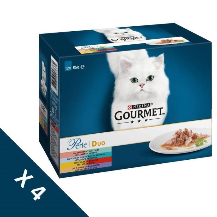 [Lot de 4 / 12 x 85g] GOURMET Perle duo à la viande et au poisson - Sachets fraîcheur - Pour chat adulte - 4 boîtes de 12 x 85 g